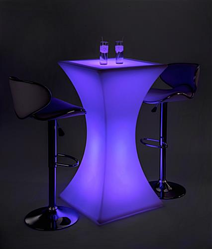 Hourglass LED pub table set with 16 light color settings