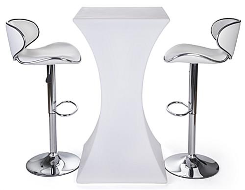 LED glowing cocktail table set with 2 white leatherette stools