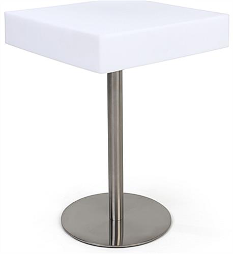 Square glow top bar table with water-resistant design