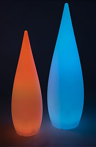 Teardrop LED floor light with changing colors and hues