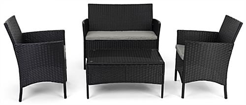 Outdoor sofa and chair set with a weight capacity of 330 pounds per chair