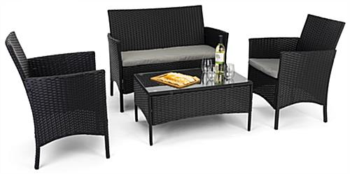 Outdoor sofa and chair set sturdy steel frames