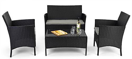 Outdoor sofa and chair set with rich dark brown finish