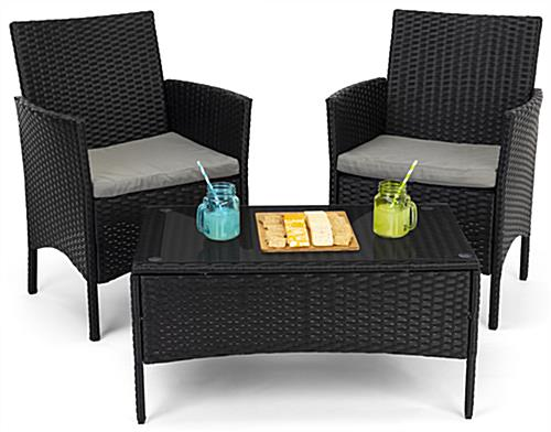 Outdoor sofa and chair set can have multiple configurations