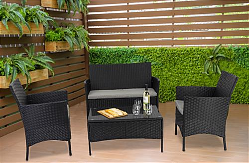 Outdoor sofa and chair set with comfortable seating