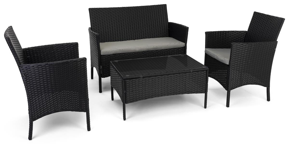 Outdoor Sofa And Chair Set Tempered Glass Coffee Table