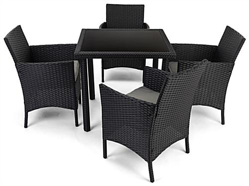 5 Piece rattan outdoor sofa and chair set with weight capacity of 330 lbs per seat