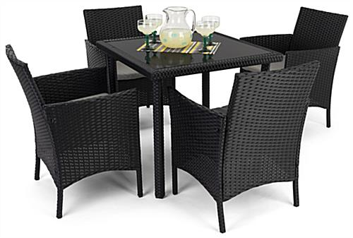 5 Piece rattan outdoor dining set with table weight capacity of 220 pounds
