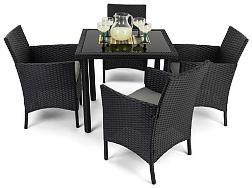 5 Piece rattan outdoor dining set with grey padded cushions