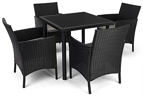 5 Piece rattan outdoor dining set includes table and 4 chairs