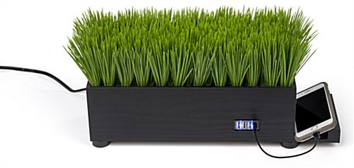 black grass desktop charging station with four USB ports