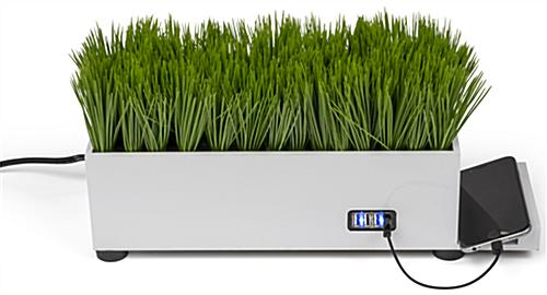 4-port plastic grass decorative charging planter