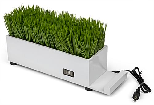 dual purpose plastic grass decorative charging planter
