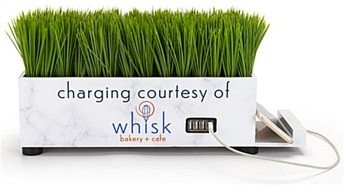 Branded grass charging station with 4 USB ports