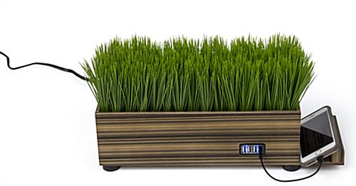 USB zebra wood potted grass device charger with four ports