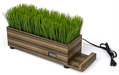 dual purpose zebra wood potted grass device charger