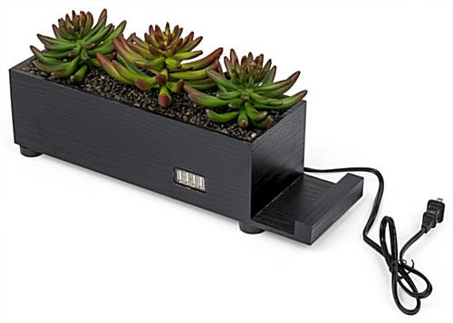 black succulents charging station planter is decorative and functional