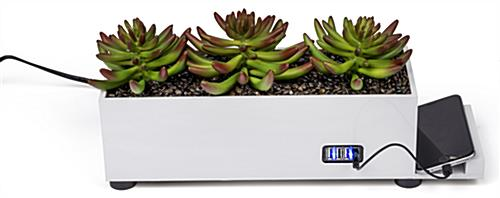 USB desktop power charging succulent planter with four ports