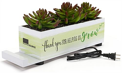 Custom plastic succulent charge hub with adhesive tack PSA graphics
