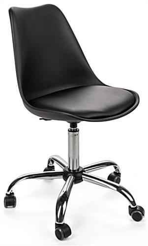 wheeled office chair. molded wheeled office chair with padded seat