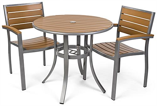 Round outdoor imitation teak table set with modern styling