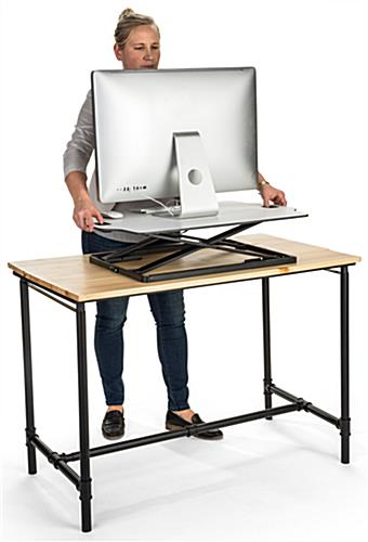 Foldable desktop riser with gas lift mechanism