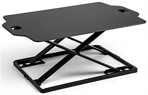 Fold-in standing workstation riser with steel frame