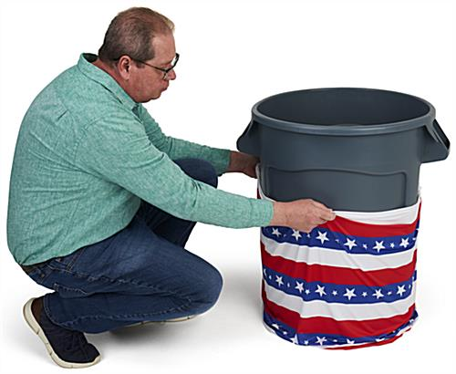 American flag trash can stretch wrap with elastic ends