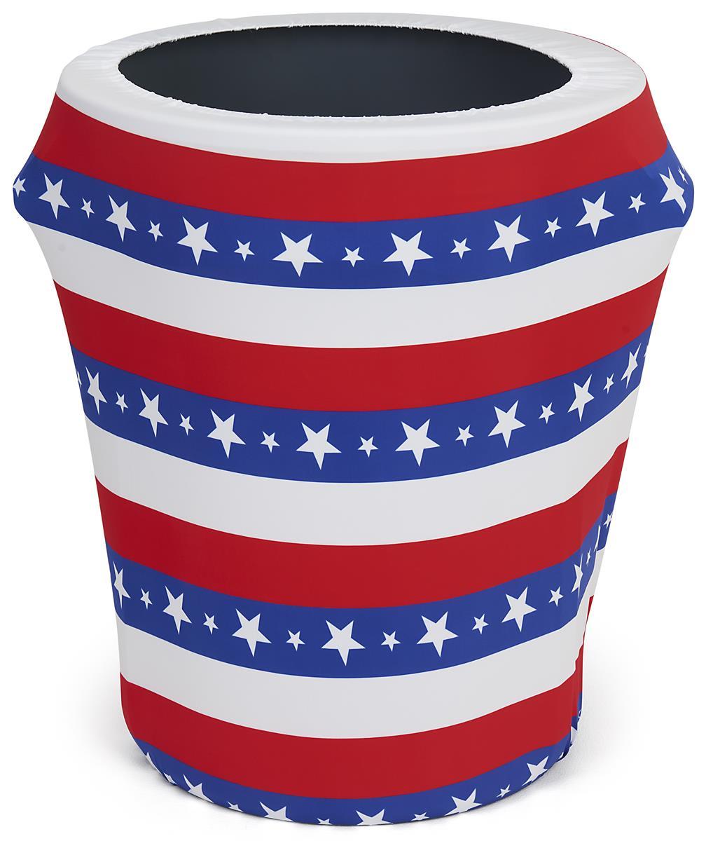 32 gallon American flag trash can stretch wrap