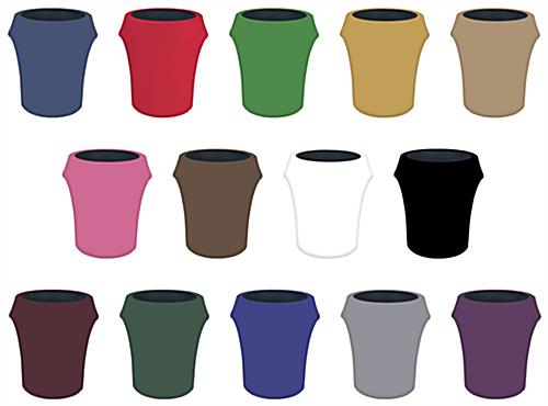 Spandex trash can covers in 14 solid color options