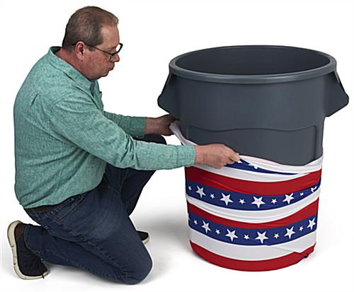 Easily Slip On American flag trash can stretch wrap