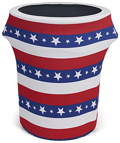 Polyester American flag trash can stretch wrap