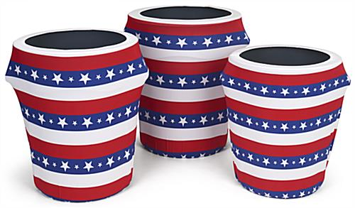 American flag trash can stretch wrap available in three sizes