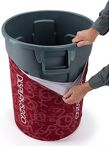 Printed 32-Gal Trash Barrel Cover with Contour Fit