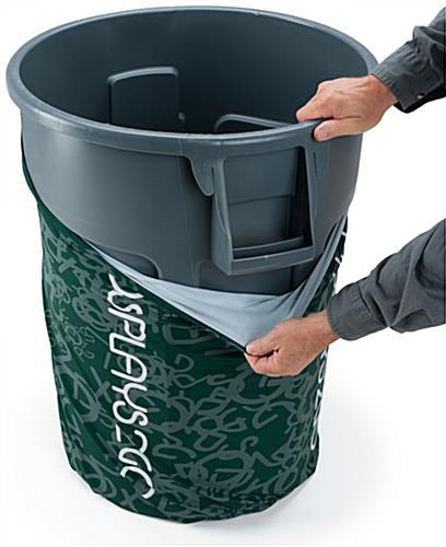 Custom 44 Gal Trash Bin Cover Stretch Material