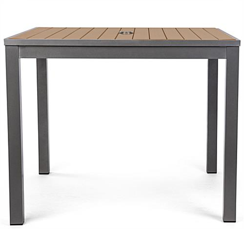 Dining height commercial restaurant teak finish square table