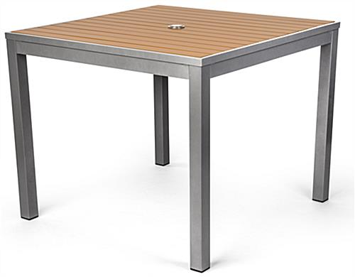 Gray-accented commercial restaurant teak finish square table
