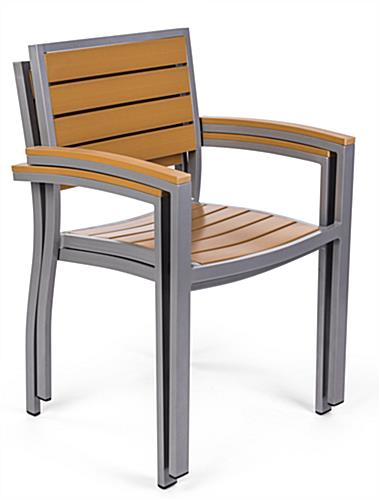 Natural plastic teak patio armchair in light color