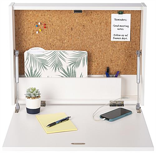 Wall-mounted floating desk with gas lift supports