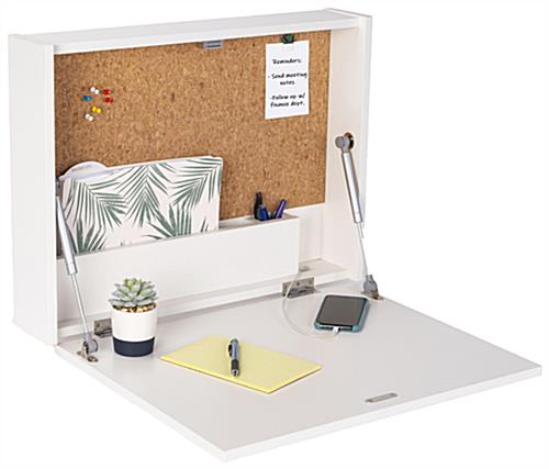 Wall-mounted floating desk with built-in file and pen storage
