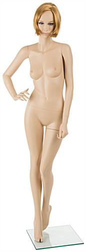Realistic Female Mannequin with Blonde Hair and Pre-Posed Arm