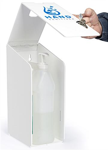 Hand sanitizer station with gallon pumps houses f style containers