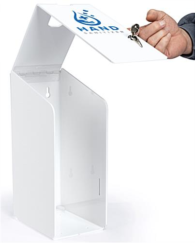 Hand sanitizer station with gallon pumps with 14.75 inch height