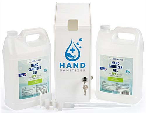 Pre printed hand sanitizer station with gallon pumps