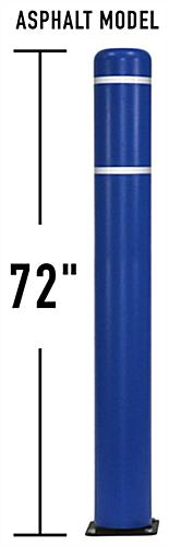 Blue 72 inch flexible parking bollard with HDPE material