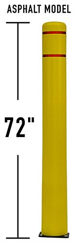 Yellow 72 inch flexible parking bollard with HDPE material