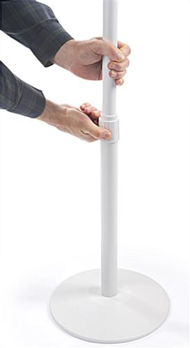 Hand sanitizing dispenser floor stand with telescoping pole