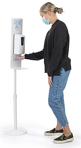 Hand sanitizing dispenser floor stand with heights from 49 to 65 inches