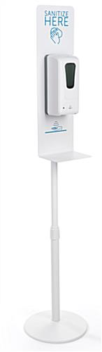 White hand sanitizing dispenser floor stand