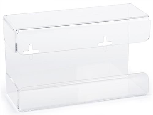 Acrylic glove box dispenser with horizontal placement